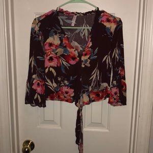 Burgandy cropped blouse